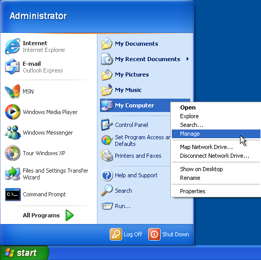 Windows XP Manage Computer