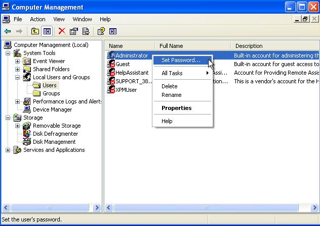 Windows XP User Account Password Change