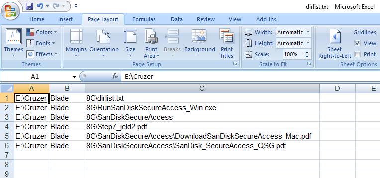 لیست کامل فایل ها و زیرشاخه ها در فایل Excel